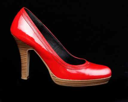 red woman shoes stock
